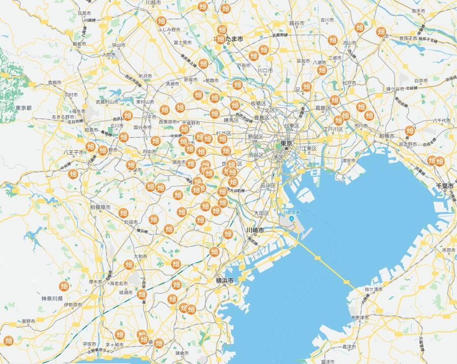 レンタル農園サービス「シェア畑」の農地マップ